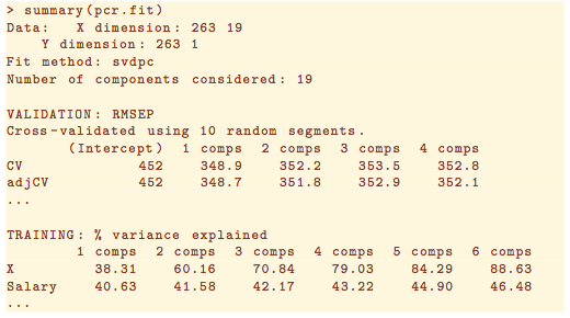 Obtaining the number of components from cross validation of principal components regression