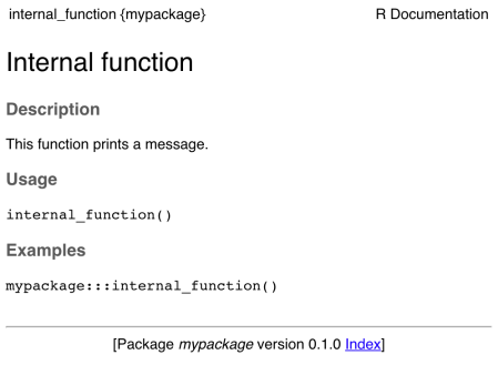 Documentation for internal functions
